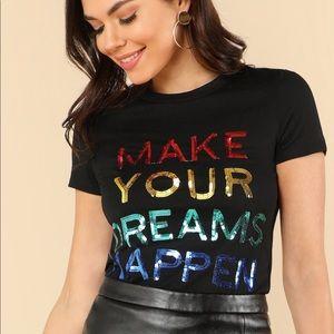 Rainbow color sequins top shirt black blogger X
